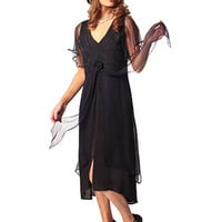 Nataya Style 150 - 20s Inspired Navy Chiffon Party Dress