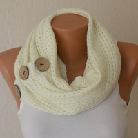 Ivory knit button circle scarf infinity scarf winter scarfs neck warmer cowl birthday gifts women's accessory fashion scarves