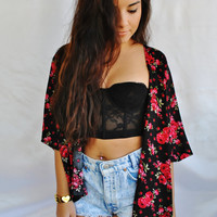 Kimono Style Cover Up Red Roses
