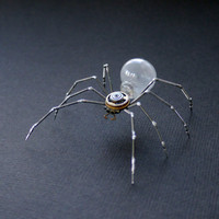 Clockwork Spider Sculpture No 38 Recycled Watch Parts Clockwork Arachnid Figurine Stems Lightbulb Arthropod A Mechanical Mind Gershenson
