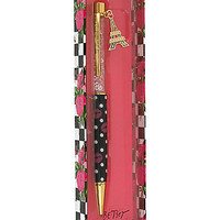 BetseyJohnson.com - POLKA DOT LIPS PEN WITH CHARM BLACK MULTI