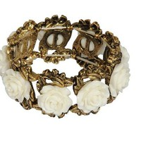 Carved Roses Stretch Bracelet - Cream | Style Icon`s Closet