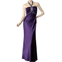 Ever-Pretty Adjustable Halter Purple Ruffles Rhinestones Bridesmaid Dress 09689