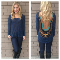 Navy Low Back Embroider Knit Sweater Top