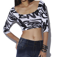 3/4 Graffiti Print Crop Top - WetSeal
