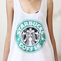 S M XL Starbucks coffee new sexy white t-shirt tank top vest singlet women