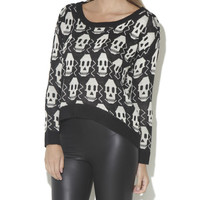 Skull High-Low Pullover Sweater - WetSeal