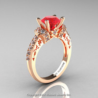 Modern Armenian Classic 14K Rose Gold 1.5 Ct Ruby Diamond Wedding Ring R137-14KRGDR