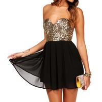 Pre-Order: Black/Gold Strapless Sequin Tunic