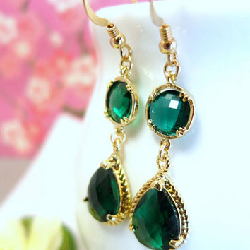 Emerald green glass gold chandelier earrings, wizard of oz peacock earrings, emerald city green dangle earrings