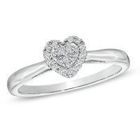 1/10 CT. T.W. Diamond Heart Cluster Promise Ring in 10K White Gold