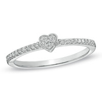 1/10 CT. T.W. Diamond Heart Promise Ring in 10K White Gold