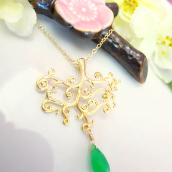 Green chrysoprase gold tree of life necklace, green botanical tree necklace