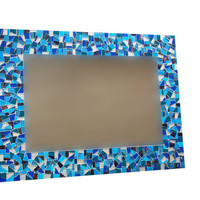 Large Wall Mirror, Blue Mosaic Wall Decor