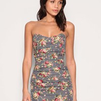 Rare | Rare Floral Pleat Bandeau Dress at ASOS