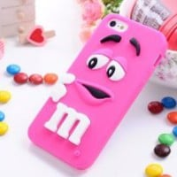 Distinctive 3D Cartoon Milk Chocolate Bean M&M Figur Bean With Fragrance Owl-Eyed Silicone Back Case For Apple iphone 5 (Peach)