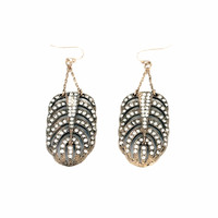 Full Rhinestone Feather Earrings in 2 Colors