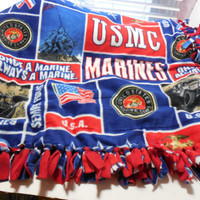 Military US Marines Digital Print Custom Made Fleece Throw Blanket