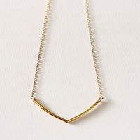 Sunlight - delicate gold necklace - geometric gold tube necklace - layering necklace