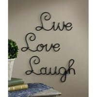 Set of 3 Live Love Laugh Metal Wall Art Words