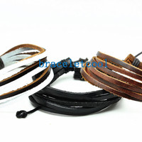 set of 3 bracelet, real leather bracelet women Leather Bracelet Men leather bracelet, Christmas Gift C040
