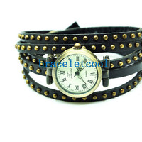 Vintage Style Rivet Wrist Watch Black Leather Bracelet Wrap Watch, Handmade Women's Watch, Rivet Watch, Everyday Bracelet C037