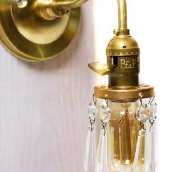 Brass Arm Open Crystal Shade Bare Bulb Vintage Style Paddle Key
