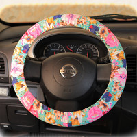 Steering wheel cover for wheel car accessories Floral Mint Wheel cover