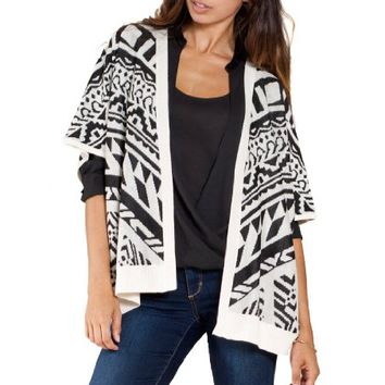 Flying Tomato Women's Aztec Print Sweater Cardigan