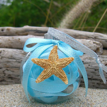 Christmas Ornament-TIFFANY BLUE STARFISH-Starfish Ornament, Beach Home Decor, Coastal Christmas, Ornament, Aqua Blue, Mermaid Ornament
