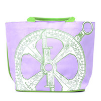 Purple & Green Compass Canvas Bag