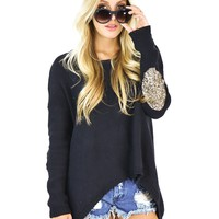 Elan International Hi-Low Sequin Elbow Patch Sweater in Black