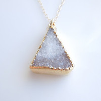 Druzy Necklace in Taupe Grey - Two Tone - OOAK