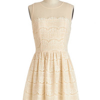 Fashionably Undulate Dress in Cream | Mod Retro Vintage Dresses | ModCloth.com