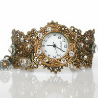 Brass Women Wrist Watch - Vintage Style - Swarovski Victorian Gothic Wedding Jewelry