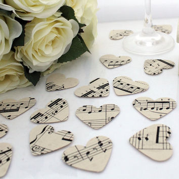 Paper heart wedding confetti- 200 vintage sheet music die cut punched hearts 3.5cm by 3cm- Great romantic table decoration