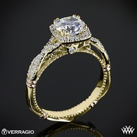 14k Yellow Gold Verragio Twisted Halo Diamond Engagement Ring