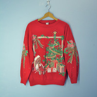 Ugly Christmas Sweatshirt Vintage 1980s Teddy Bear Holiday Top