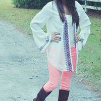 Innocent At Last Cardigan: White/Multi