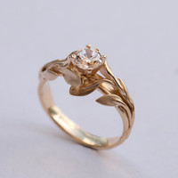 Leaves Engagement Ring No. 4 - 14K Gold and Diamond engagement ring, engagement ring, leaf ring, filigree, antique, art nouveau, vintage