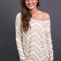 Cozy Aztec Sweater in Light Mocha | The Rage