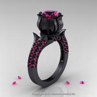 Classic 14K Black Gold 1.0 Ct Pink Sapphire Solitaire Wedding Ring R410-14KBGPS