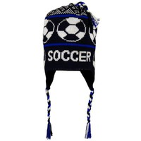 SOCCER Fleece Lined Knit Winter Hat Black/Blue