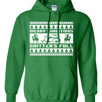 Merry CHRISTMAS ya filthy animal Shitters FULL Christmas Vacation Chevy Chase funny 8-bit retro movie xmas ugly green sweater hoodie ML-187H