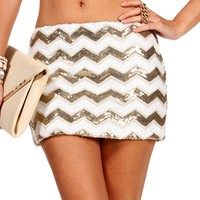Gold/Ivory Sequin Chevron Skirt