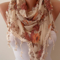 Beige and Orange Shawl / Scarf with Lace Edge by SwedishShop