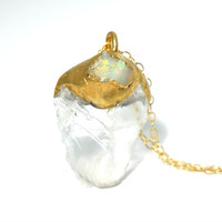 40% OFF SALE Raw crystal quartz fire opal necklace - Gold dipped