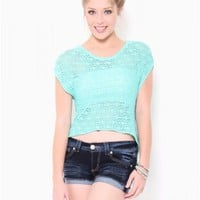 High Low Open Stitch Crochet Top - Sweaters - Tops