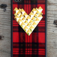 Tartan Gold Studded Heart Case | Wildflower cases