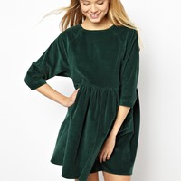 ASOS Cord Smock Dress in Green
